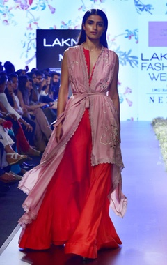 Anushree Reddy Red & pink maxi dress with cape