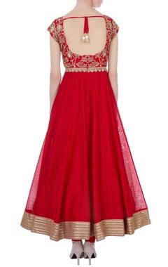 Red raw silk & chanderi hand embroidered anarkali set