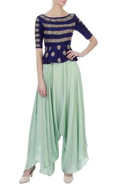 navy blue & light blue raw silk & satin silk peplum blouse with dhoti pants