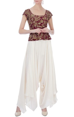 Maroon & off white raw silk & satin silk peplum blouse with dhoti pants