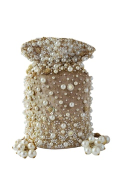 beige pearl embellished potli