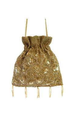 gold sequin embellished potli