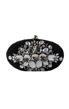 Adora by Ankita Black sequin & bead embellished clutch