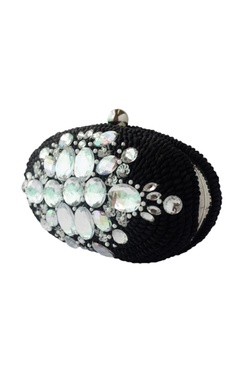Black sequin & bead embellished clutch