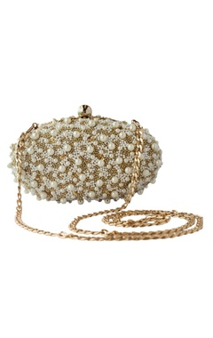 Adora by Ankita gold pearl embellished oval clutch