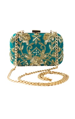 Adora by Ankita turquoise sequin & bead embellished clutch with long chain