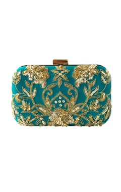 turquoise sequin & bead embellished clutch with long chain