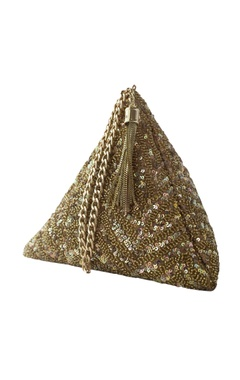 Adora by Ankita gold sequin chevron triangle clutch