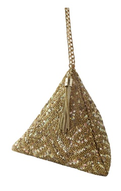gold sequin chevron triangle clutch