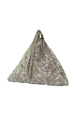 Adora by Ankita silver sequin chevron triangle clutch