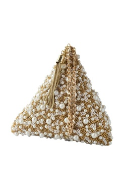 Adora by Ankita gold pearl embellished triangle clutch