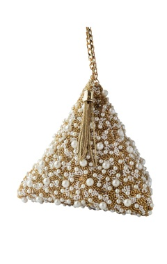 gold pearl embellished triangle clutch