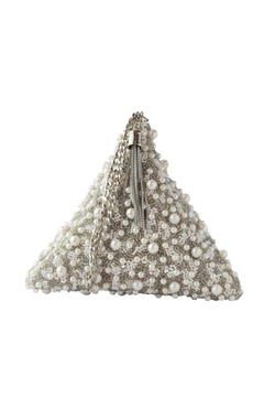 Adora by Ankita Silver pearl embellished clutch