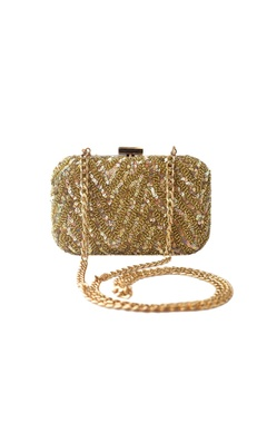 Adora by Ankita gold sequin embellished clutch with long chain