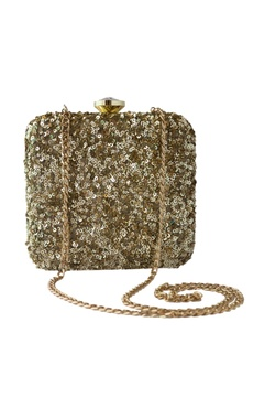 Adora by Ankita gold sequin embellished square clutch