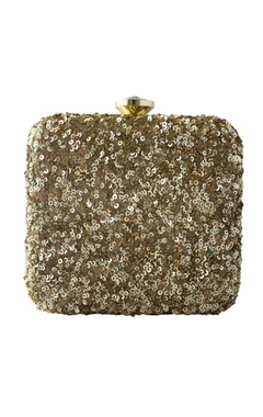 gold sequin embellished square clutch