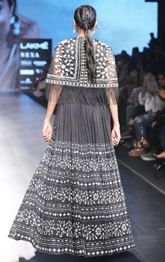 black flared anarkali with cape