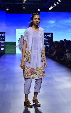 blue khadi floral embroidered kurta