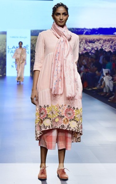 pink handwoven khadi embroidered tunic
