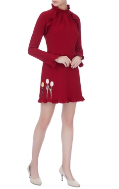 wine moss crepe embroidered dress