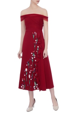wine micro fabric embroidered dress