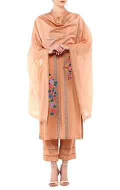 Devnaagri Beige linen & chanderi embroidered kurta set