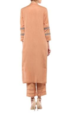 Beige linen & chanderi embroidered kurta set