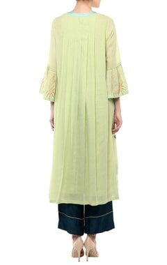 Lime green cotton & shantoon embroidered kurta set
