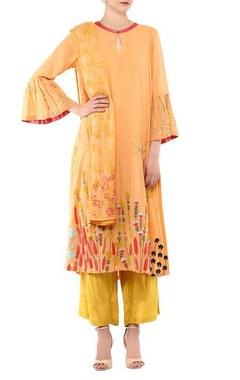 Devnaagri Orange cotton & shantoon embroidered kurta set