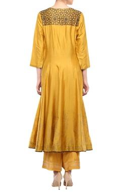 Mustard cotton & net anarkali kurta with palazzo pants