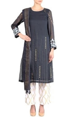 Devnaagri Dark grey kota embroidered kurta with palazzo pants