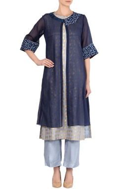 Devnaagri Navy blue kota embroidered kurta with palazzo pants