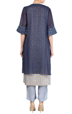 Navy blue kota embroidered kurta with palazzo pants