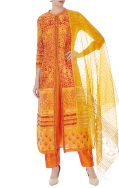 yellow & orange silk chanderi printed long kurta with pants
