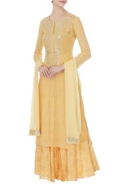 Mango yellow chiffon hand embroidery kurta, skirt and dupatta