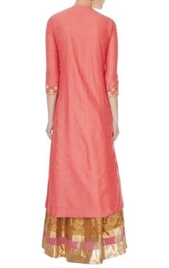 peach cotton silk embroidered kurta, skirt & dupatta