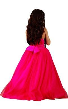 Pink georgette embellished gown