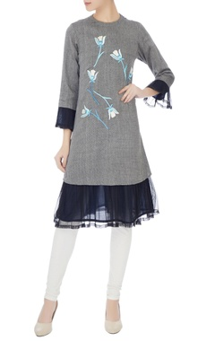 Poonam Dubey Grey floral embroidered kurta with net frill layer