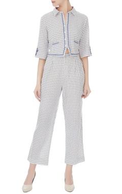 Blue & white khadi cotton pants