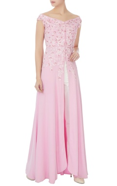 Manish Malhotra Baby pink double georgette embroidered kurta set