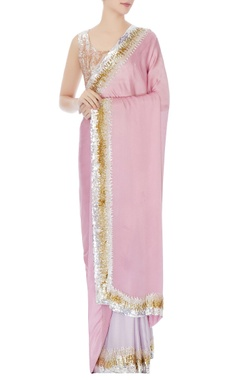 Onion pink & lavender satin chiffon sequin chitta embroidery sari with blouse