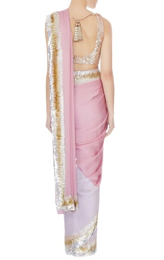 Sequin chitta embroidered sari with unstitched blouse & underskirt