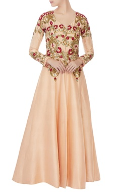 Peach crepe resham embroidery jacket set