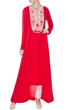 red satin & crepe embroidered tunic