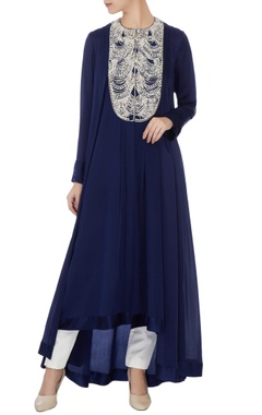 Manish Malhotra Navy blue satin & crepe embroidered tunic
