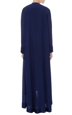 Navy blue satin & crepe embroidered tunic