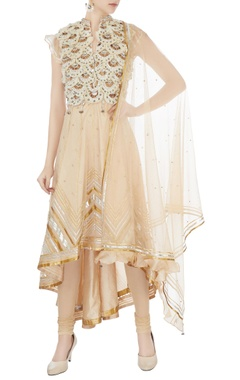 Surily G beige hand embroidered organza & net asymmetric kurta set