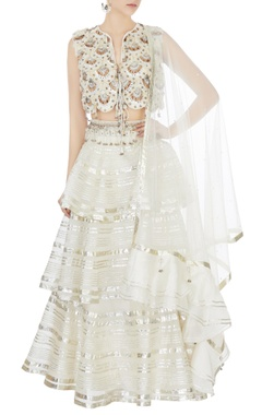 Surily G cream tiered lehenga with hand-embroidered blouse & dupatta