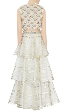 cream tiered lehenga with hand-embroidered blouse & dupatta