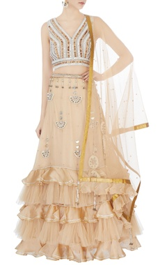 Surily G beige hand embroidered blouse with ruffle lehenga & dupatta